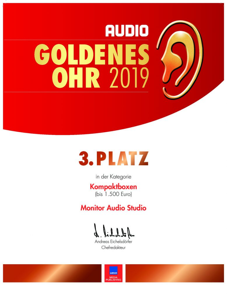 Urkunde 3. Platz Goldenes Ohr 2019 Monitor Audio Studio