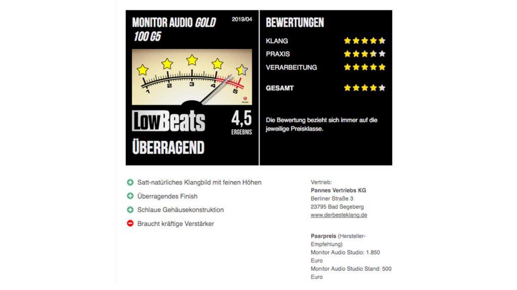 LowBeats komplette Bewertung Monitor Audio Gold 100 5G