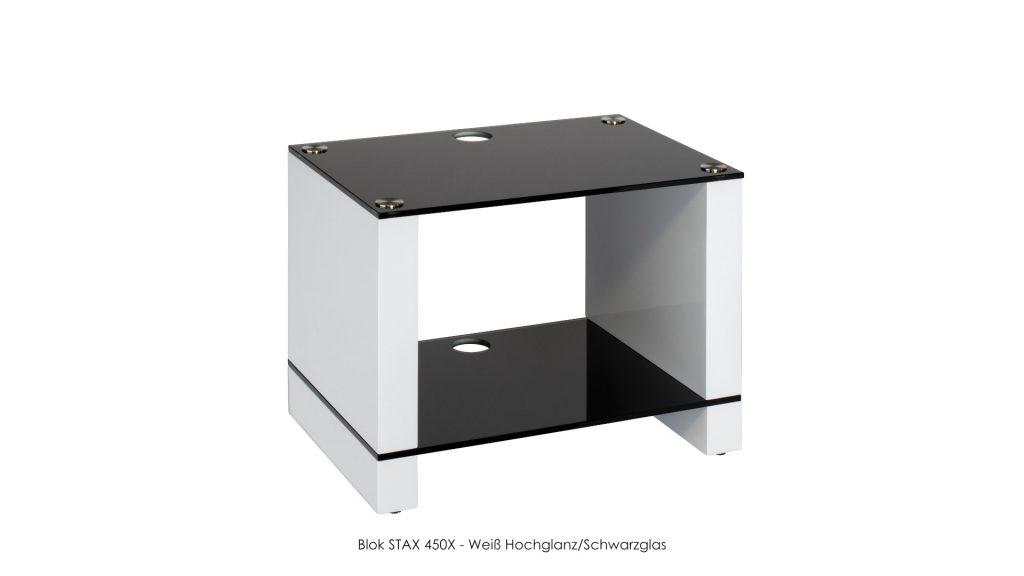 Blok STAX 450X Weiß Hochglanz - Schwarzglas