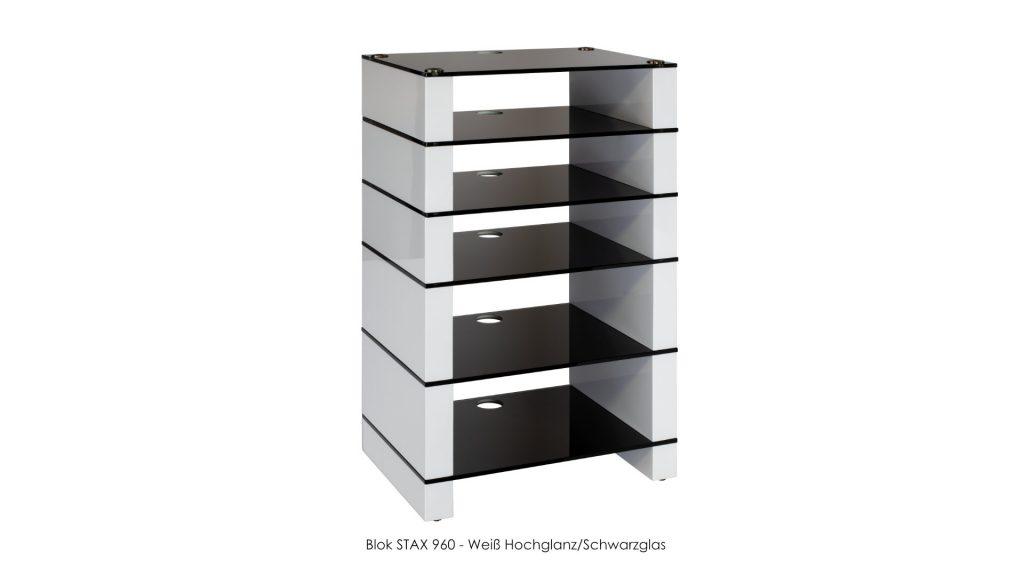 Blok STAX 960 Weiß Hochglanz - Schwarzglas