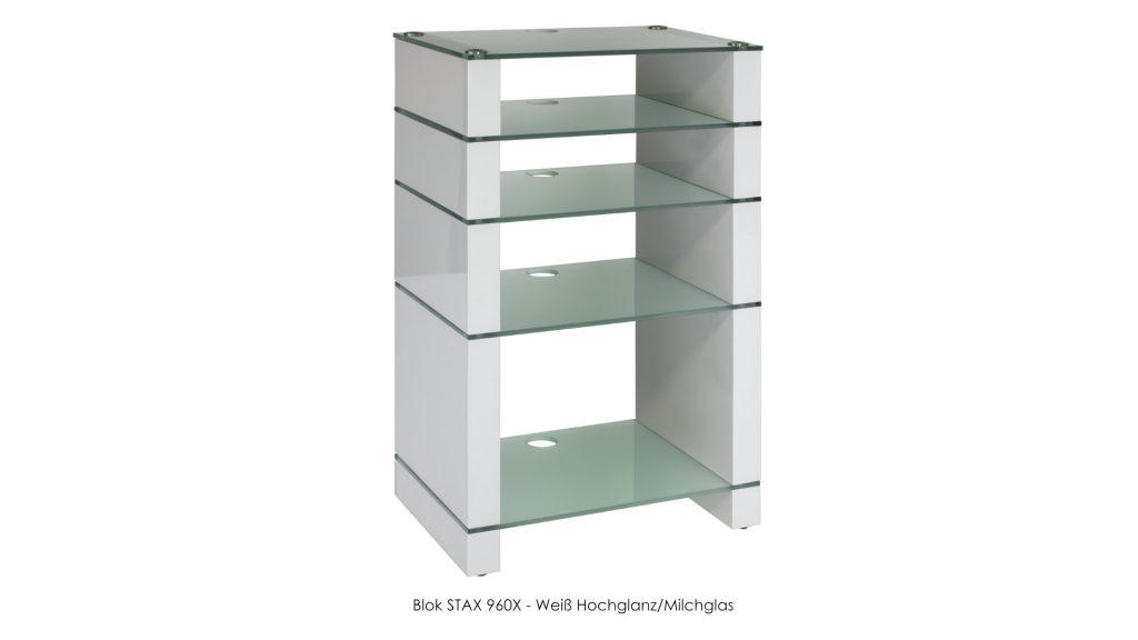 Blok STAX 960X Weiß Hochglanz - Milchglas
