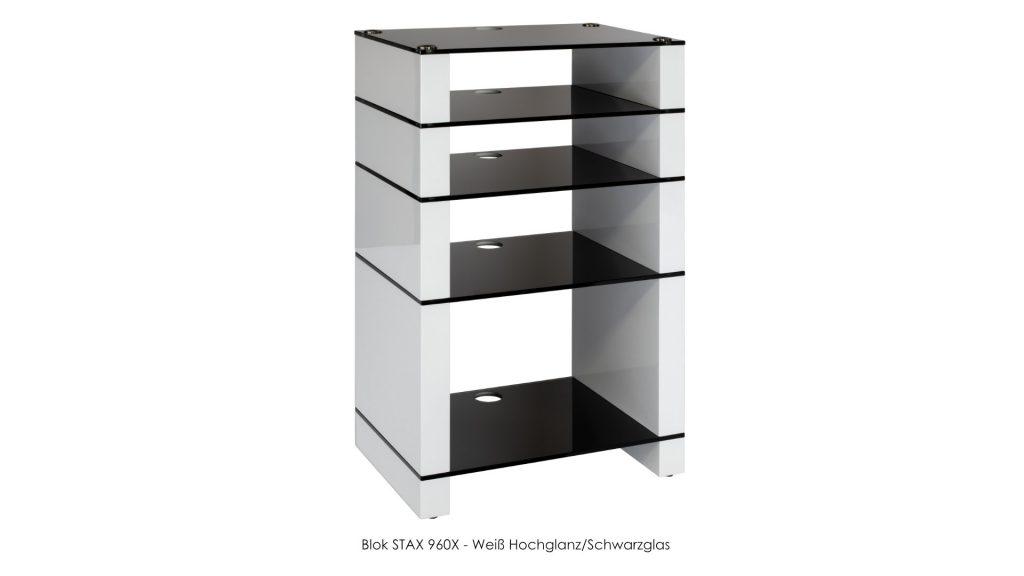 Blok STAX 960X Weiß Hochglanz - Schwarzglas