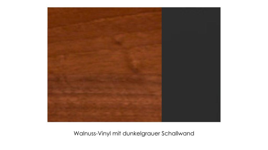 Walnuss-Vinyl mit dunkelgrauer Schallwand