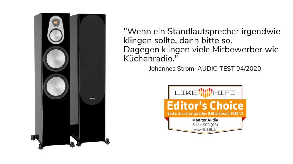 """Monitor Audio Silver 500 ist """"Liebling der Redaktion"""" 2020/2021 bei Likehifi"""